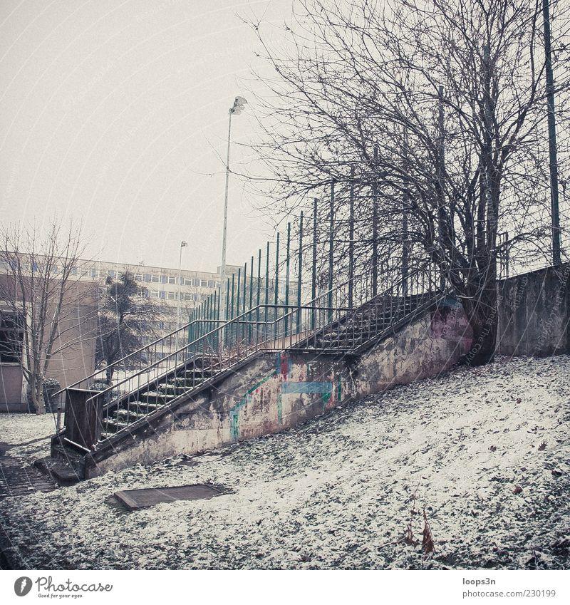 After Parties V Baum Winter Einsamkeit Haus Schnee Umwelt Stimmung Eis Nebel dreckig Treppe authentisch trist Frost retro Verfall