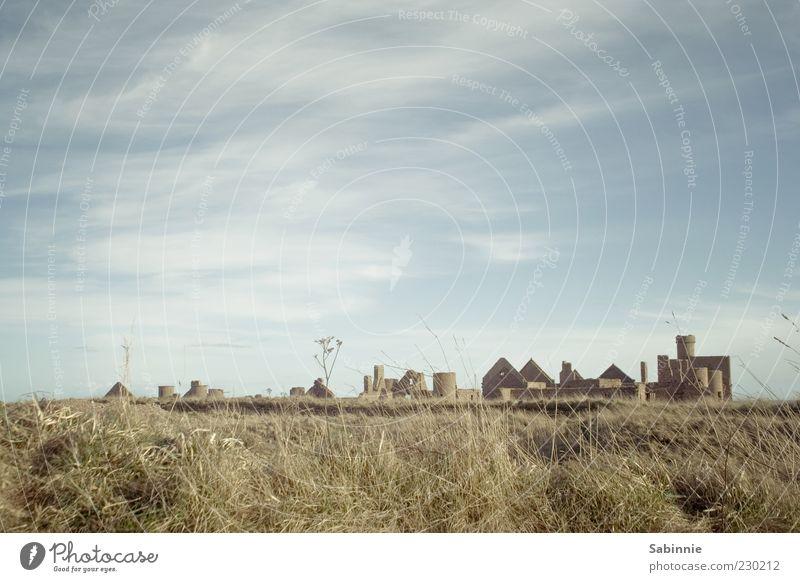 Slains Castle Kultur Natur Landschaft Himmel Wolken Schönes Wetter Gras Sträucher Küste Menschenleer Architektur Festung Burg oder Schloss Burgturm Turm Ruine