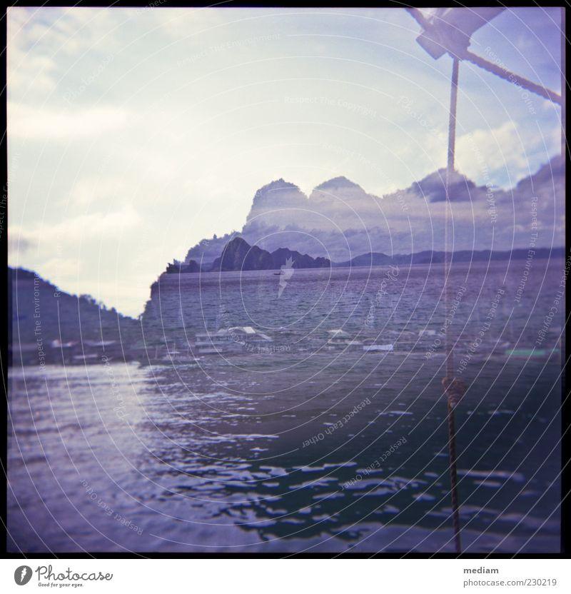 Nah und Fern Himmel Wasser Sommer Meer Ferne Küste Freiheit Wasserfahrzeug Felsen Wellen Insel Seil entdecken Schifffahrt Doppelbelichtung Wasseroberfläche