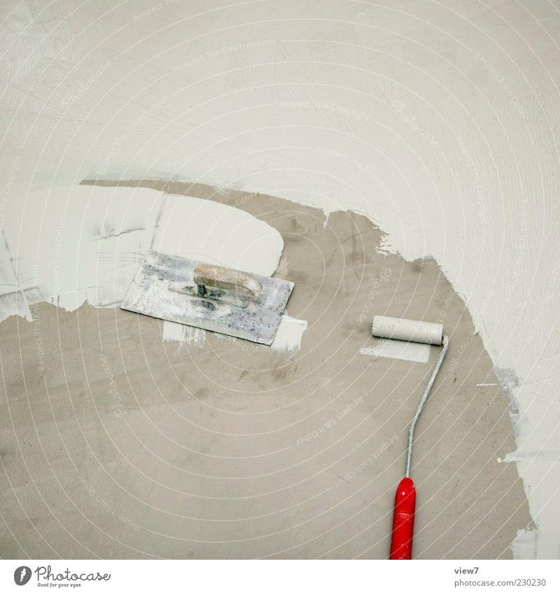 Pause :: alt rot klein Stein Farbstoff Metall dreckig nass Beton authentisch Baustelle einfach dünn Zeichen Werkzeug