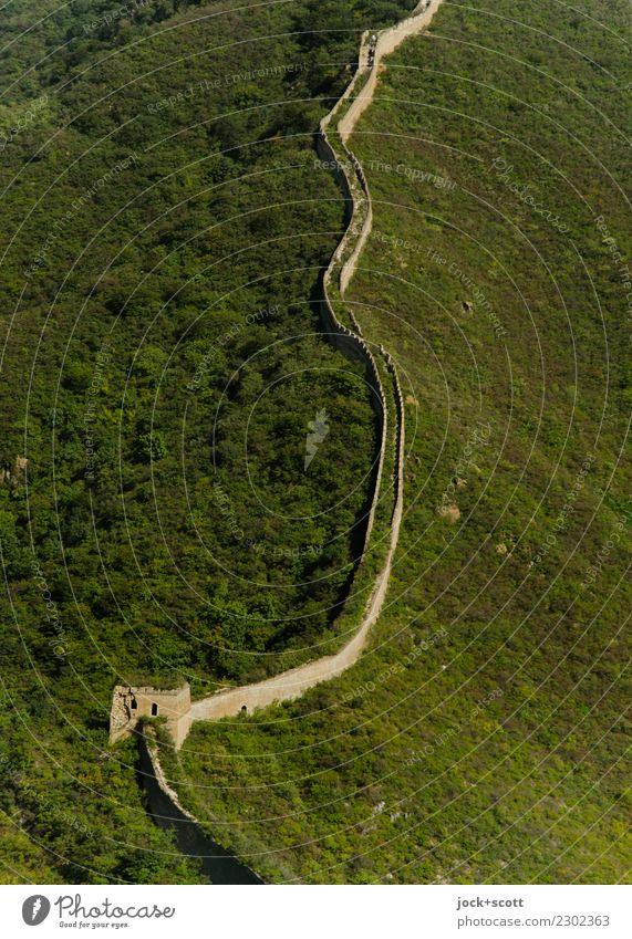 lange Mauer Weltkulturerbe Chinesische Architektur Berge u. Gebirge Bauwerk Sehenswürdigkeit Wahrzeichen Chinesische Mauer historisch Originalität unten grün
