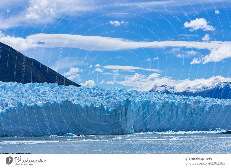 Blauer Gletscher, Patagonia, Argentinien, Südamerika Himmel Natur Ferien & Urlaub & Reisen blau schön Farbe Wasser Landschaft Wolken Winter Berge u. Gebirge