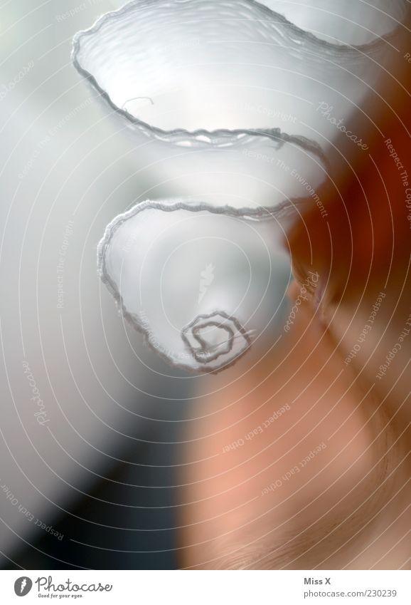 Vorhang-Röllchen Stoff hängen ästhetisch Spitze Rolle Gardine schlangenförmig Wellenform weiß Farbfoto Nahaufnahme abstrakt Menschenleer Schwache Tiefenschärfe