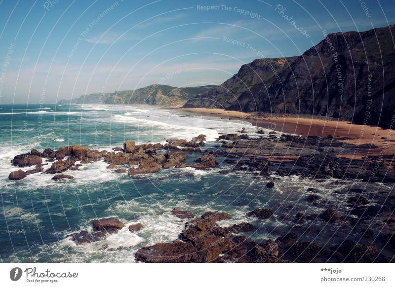 castelejo. Landschaft Ferien & Urlaub & Reisen Portugal Praia do Castelejo Strand Felsen Felswand Felsküste Algarve Atlantik Meer Riff Naturgewalt Klippe Wellen