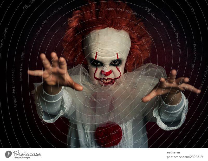 Junge gekleidet als Clown auf schwarzem Hintergrund Party Veranstaltung Feste & Feiern Karneval Halloween Jahrmarkt Geburtstag Mensch maskulin Kindheit 1