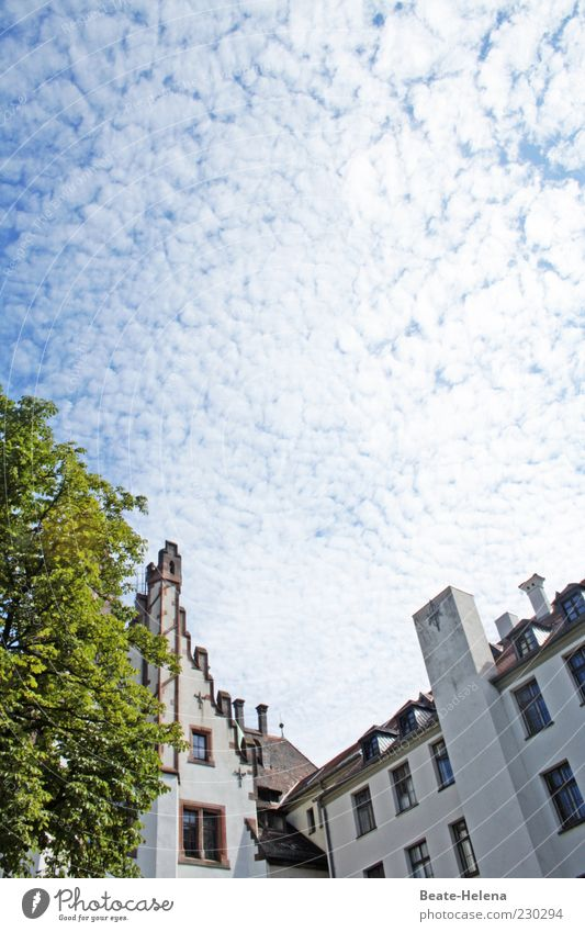 Heiter bis wolkig Himmel blau weiß schön Sommer Wolken Haus Umwelt Gefühle Gebäude Wetter Fassade ästhetisch Schönes Wetter Wolkenbild