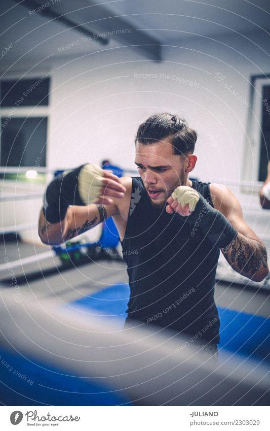 Junger thailändischer Verpackenmann tut ein Training für Kampf Lifestyle sportlich Fitness Sport Sport-Training Kampfsport Sportler Erfolg Mensch maskulin Mann