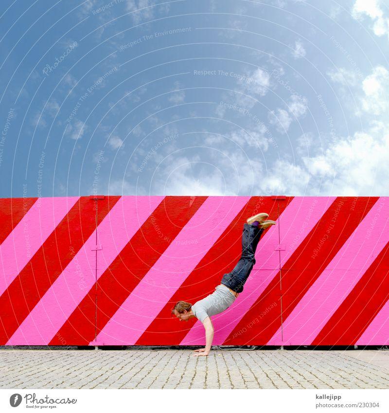 die entwicklung der menschheit Mensch Himmel Mann rot Wolken Erwachsene rosa maskulin Fitness Schönes Wetter Streifen Neigung Sport-Training diagonal gestreift