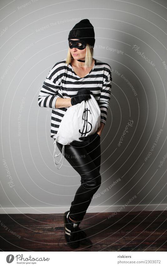 catch me if you can VI Frau Mensch Erwachsene blond beobachten Coolness Maske Karneval rennen Flucht Karnevalskostüm Dieb Beutezug