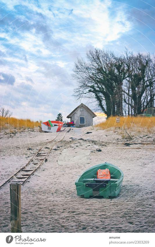 Haus_Boote Erholung ruhig Kur Ferien & Urlaub & Reisen Tourismus Ausflug Umwelt Natur Landschaft Sand Wolken Herbst Winter Klima Wetter Nordlicht Baum Sträucher