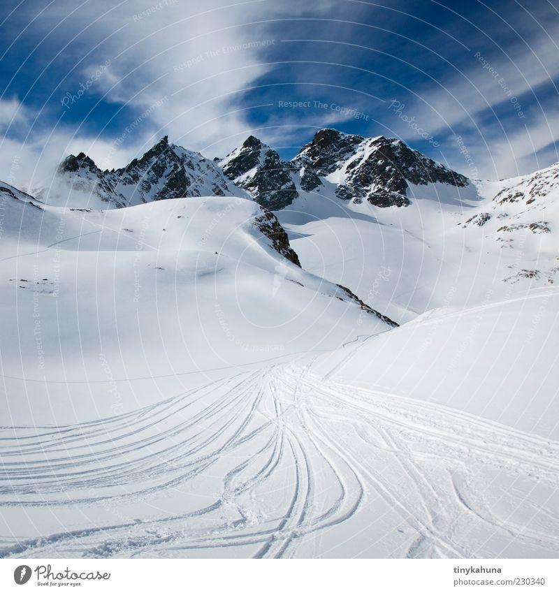 Skitour blau weiß Ferien & Urlaub & Reisen Winter Einsamkeit kalt Schnee Landschaft Freiheit Berge u. Gebirge hell groß Alpen Schönes Wetter Schneebedeckte Gipfel Winterurlaub