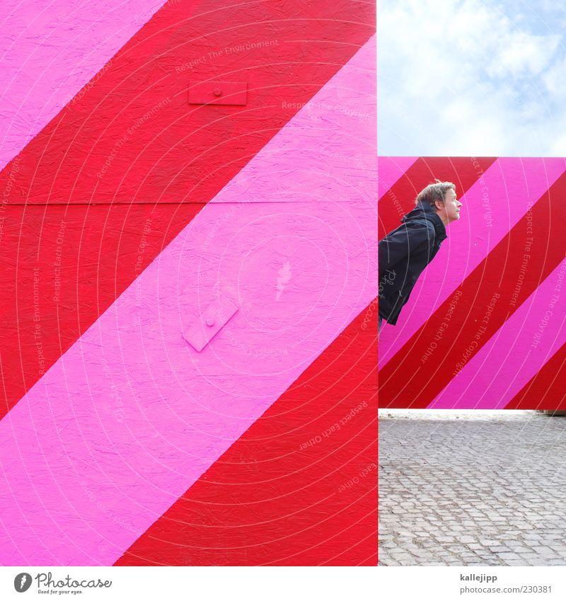 grafikdesigner Mensch Mann rot Erwachsene Kopf rosa maskulin Design Streifen diagonal Zaun Kopfsteinpflaster Barriere Neigung gestreift Schatten