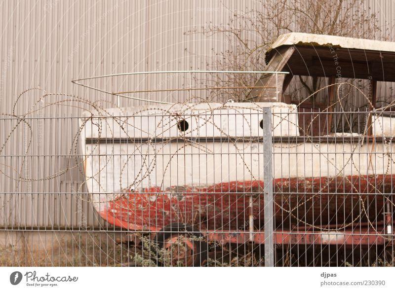 Sicherer Hafen Fischerboot Sportboot Jacht Motorboot Stacheldraht Stacheldrahtzaun Farbfoto Gedeckte Farben Außenaufnahme Menschenleer Textfreiraum oben Tag