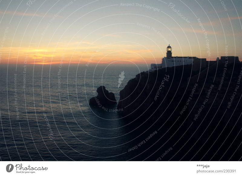 last sunset. Natur Ferien & Urlaub & Reisen Meer Ferne Küste Horizont Felsen leuchten Bauwerk Idylle Schifffahrt Leuchtturm Abenddämmerung Fernweh Klippe