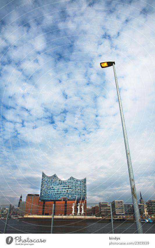 Elbphilharmonie am anderen Ufer Ferien & Urlaub & Reisen Tourismus Städtereise Sommer Himmel Wolken Fluss Elbe Hamburg Hamburger Hafen Sehenswürdigkeit