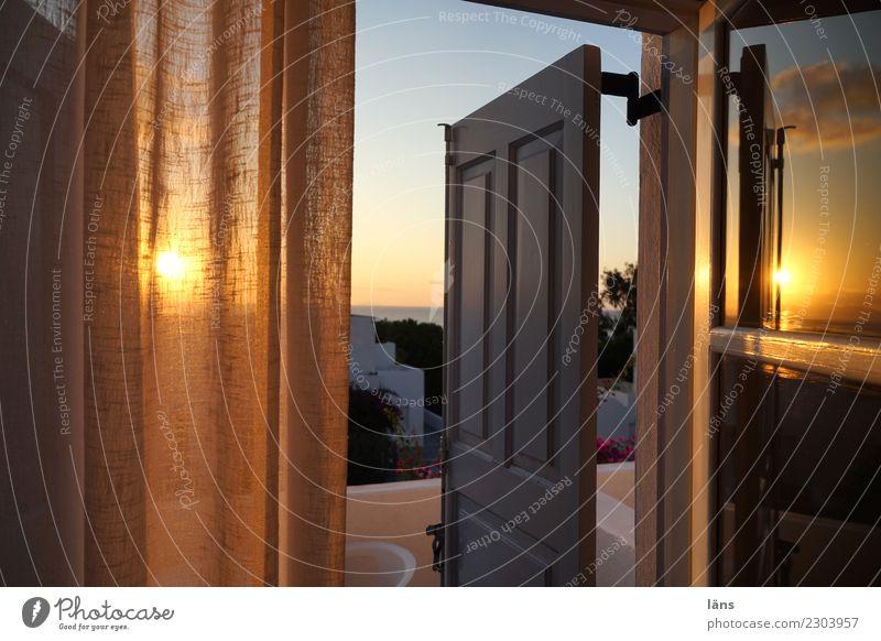 Sonnenaufgang Ferien & Urlaub & Reisen Tourismus Häusliches Leben Wohnung Haus Griechenland Balkon Tür Freundlichkeit Beginn entdecken Erwartung Santorin