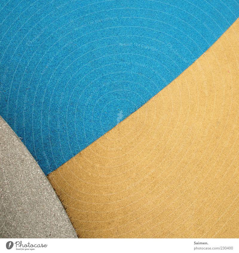 dreiklang blau Farbe gelb Wand grau Stein Mauer Linie Hintergrundbild authentisch Boden Ecke eckig Gummi Formation knallig
