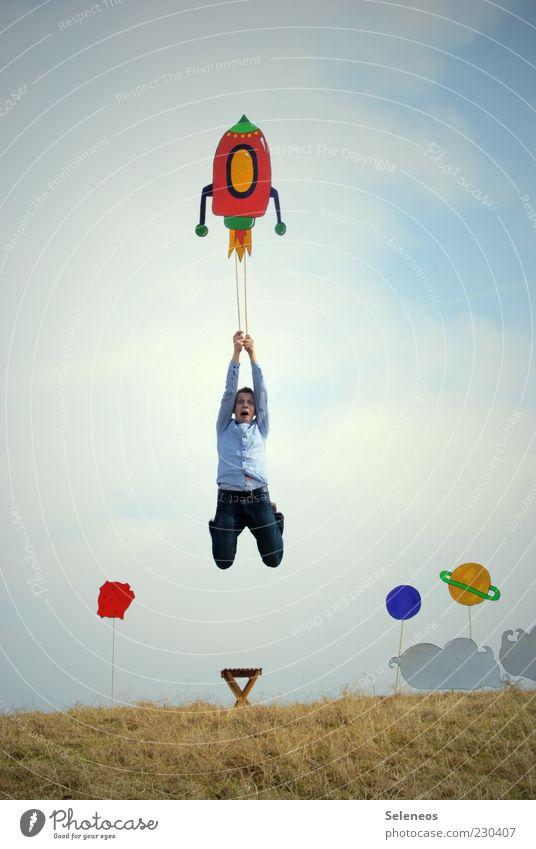Schnellstart Mensch Himmel Gras springen lustig Freizeit & Hobby fliegen maskulin Beginn außergewöhnlich Abenteuer verrückt Stuhl Papier Kreativität Weltall