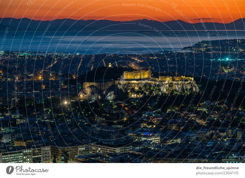 Sonnenuntergang über der Akropolis Ferien & Urlaub & Reisen Tourismus Sightseeing Städtereise Sommer Sommerurlaub Meer Berge u. Gebirge Athen Griechenland