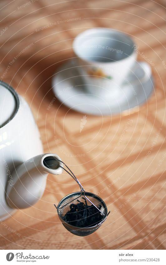 erst einmal Pause... alt Erholung ruhig Zufriedenheit Getränk lecker Gelassenheit heiß Geschirr Tee Tasse Vorsicht Tischwäsche Kannen Filter