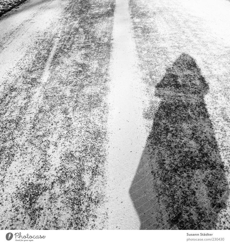 Kegel Eis stehen Asphalt dick fremd Selbstportrait bescheiden unsichtbar Fahrbahn Fahrbahnmarkierung unerkannt Schattenseite distanzieren Streu Streugut