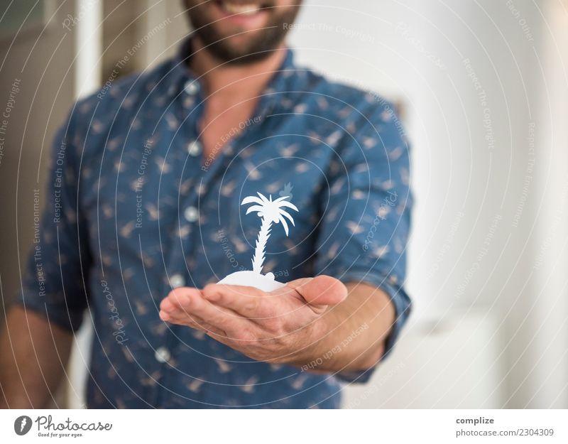 Traum-Insel Ferien & Urlaub & Reisen Mann Sommer Sonne Meer Erholung Einsamkeit Freude Ferne Strand Reisefotografie Erwachsene Tourismus Luftverkehr planen
