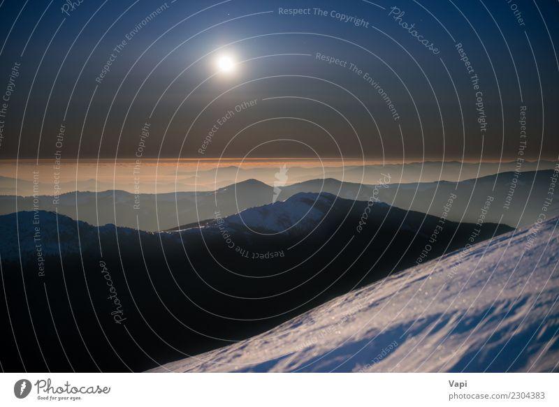 Reichweite von Winterbergen im weißen Schnee nachts Himmel Natur Ferien & Urlaub & Reisen blau schön Landschaft rot Ferne Berge u. Gebirge dunkel schwarz gelb