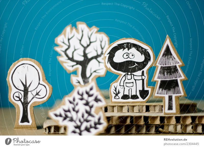 """Pappland - Pappfigur Gärtner Garten Pappe gebastelt Landschaft bäume"""" Baum Bart Schaufel Pflanzen blau kreativ Kreativität Idee Figur Comic Comicfigur anonym"""