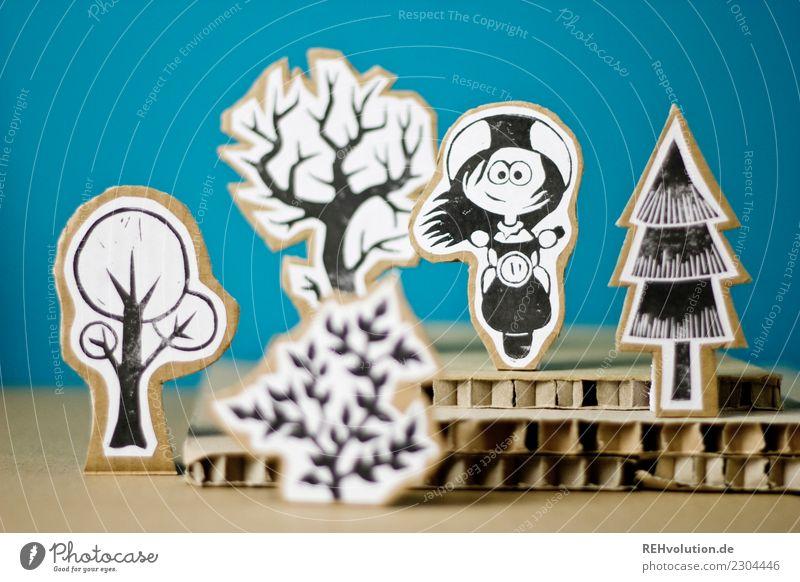 Pappland | Rollermädchen Mensch Natur Jugendliche blau Landschaft Baum Freude Wald Lifestyle Umwelt feminin Glück außergewöhnlich Freizeit & Hobby Kreativität