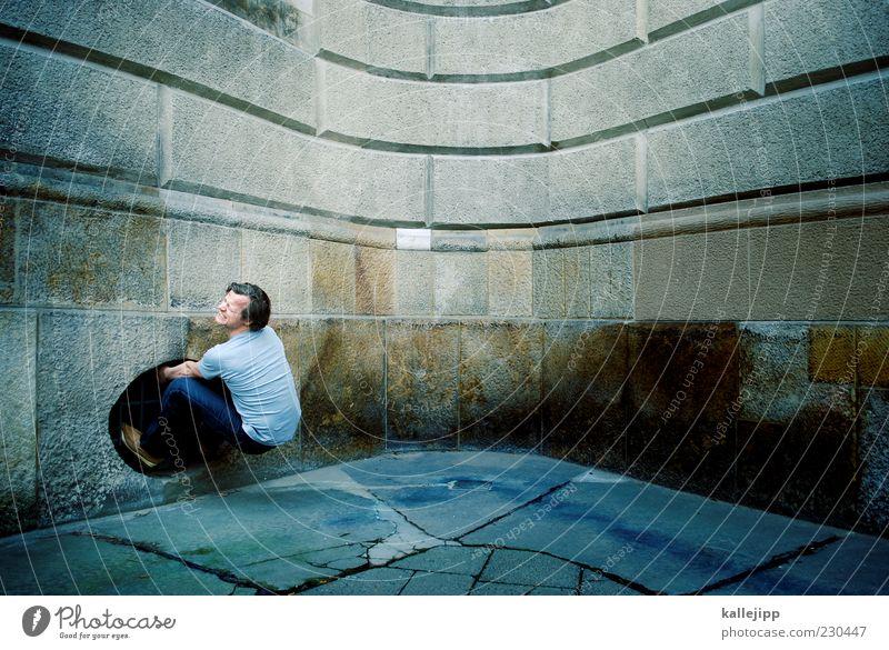 ausstieg Mensch Mann Erwachsene Fenster Gefühle Stein Mauer Stimmung Kraft Angst maskulin gefährlich Ecke Todesangst Stress Verzweiflung
