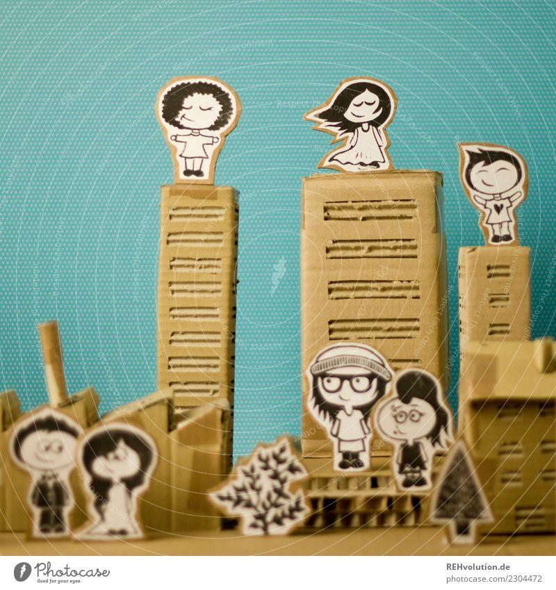Pappland | City Mensch Stadt Haus Stil Kunst außergewöhnlich Menschengruppe Hochhaus Kultur stehen Kreativität genießen einzigartig Idee niedlich Papier
