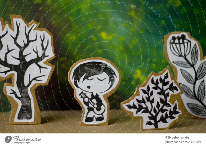Pappland | Junge mit Gitarre Mensch Natur Pflanze Landschaft Baum Freude Umwelt Glück Kunst Spielen außergewöhnlich Freizeit & Hobby maskulin Musik Kreativität