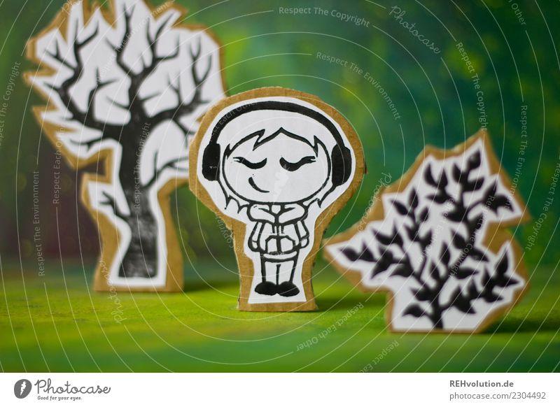 Pappland   Lauscherin Stil Design Freizeit & Hobby Mensch feminin Jugendliche 1 Kunst Kultur Jugendkultur Musik hören Medien Umwelt Natur Landschaft Baum