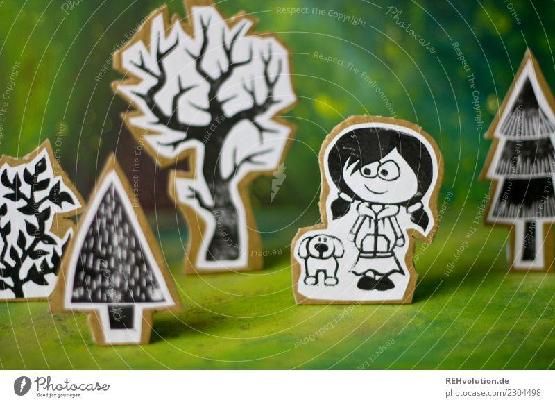Pappland | Mädchen mit Hund Kind Mensch Natur Landschaft Baum Tier Umwelt feminin außergewöhnlich gehen Kindheit Kreativität Idee Papier