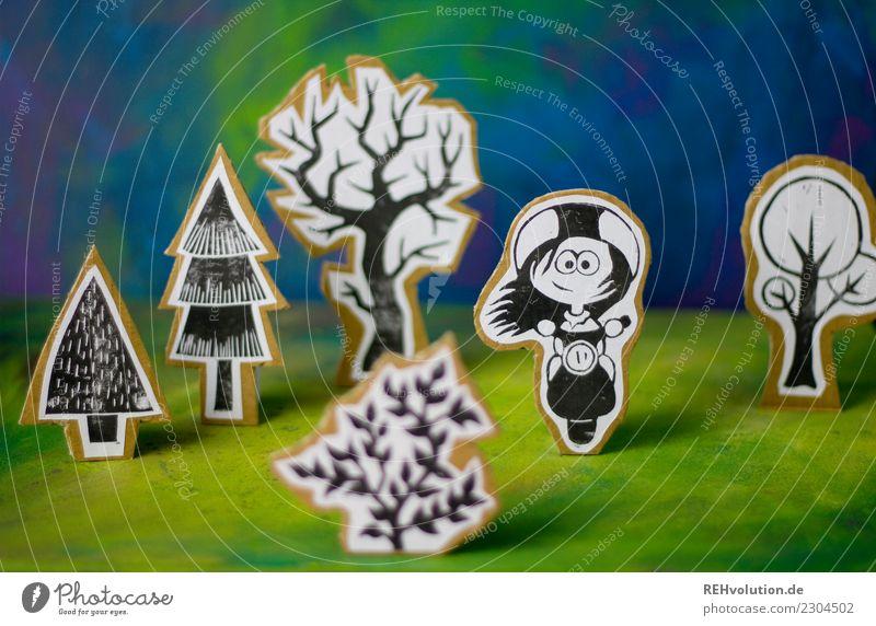 Pappland | Rollermädchen Lifestyle Stil Freizeit & Hobby Mensch Mädchen Junge Frau Jugendliche 1 Umwelt Natur Landschaft Baum Sträucher Wiese Kleinmotorrad
