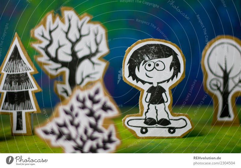 Pappland | Skateboarder Mensch Natur Jugendliche Freude Wald Lifestyle Umwelt Wiese Sport Stil Junge Glück außergewöhnlich Freizeit & Hobby Zufriedenheit