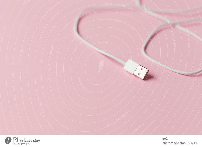 Mach mal Pause sprechen rosa Büro Kommunizieren Technik & Technologie Computer Kabel Netzwerk Internet Kontakt Informationstechnologie Gesellschaft (Soziologie)