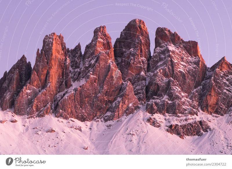 Alpenglühen, Südtirol, Schnee, Berggipfel Ferien & Urlaub & Reisen Tourismus Abenteuer Winter Winterurlaub Berge u. Gebirge wandern Natur Landschaft Himmel