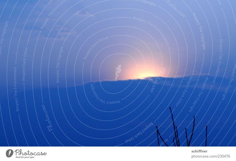 444 Urelemente Luft Himmel Wolken Sonne Sonnenaufgang Sonnenuntergang Sonnenlicht Wetter kalt blau Hoffnung Ast Wetterumschwung diffus Aura Außenaufnahme