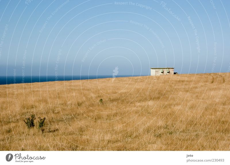 mein häuschen Himmel Natur alt Ferien & Urlaub & Reisen Meer Sommer ruhig Einsamkeit Haus Ferne Wiese Landschaft Freiheit Wege & Pfade Horizont Hügel