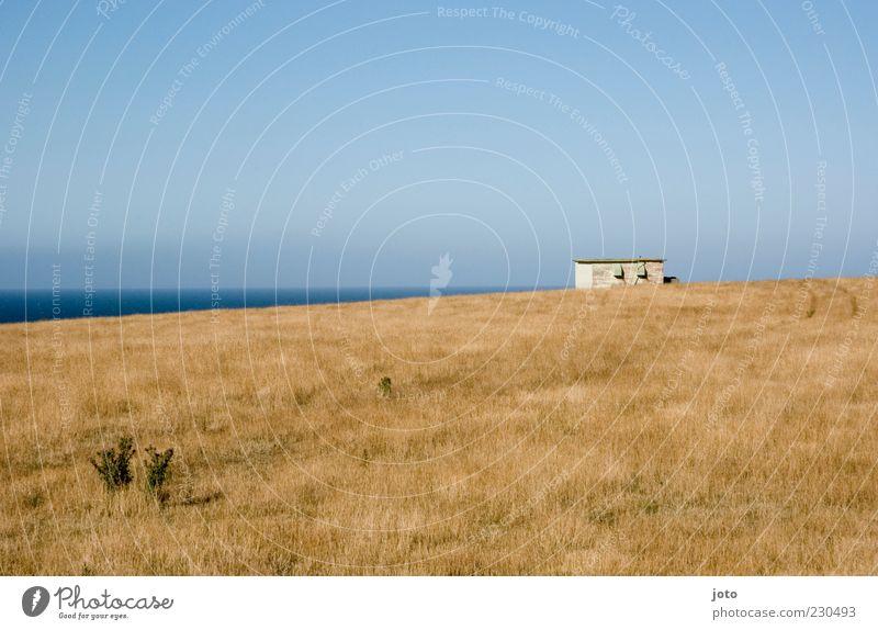 mein häuschen Natur Landschaft Himmel Horizont Sommer Wiese Hügel Meer alt Ferne Unendlichkeit friedlich ruhig bescheiden Heimweh Fernweh Einsamkeit Freiheit