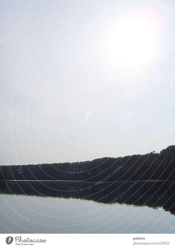 See Reflexion & Spiegelung Baum Wald hell Sonne am Tag Wasser Himmel. bleich