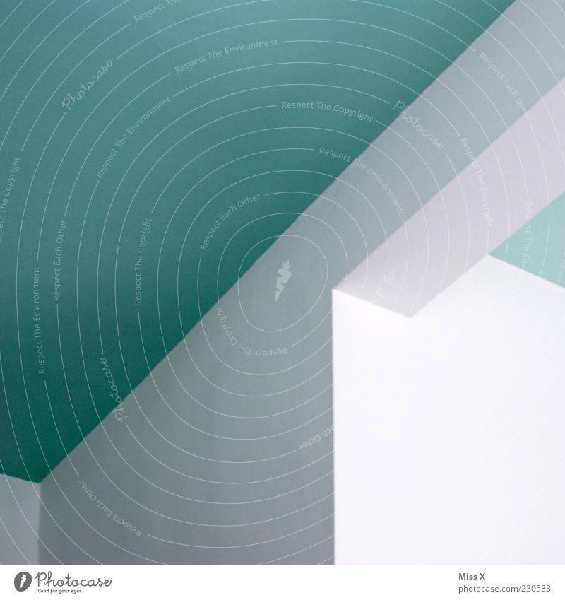 blauweiß Mauer Wand Decke türkis gestrichen Farbfoto mehrfarbig Innenaufnahme abstrakt Menschenleer Strukturen & Formen Ecke Textfreiraum