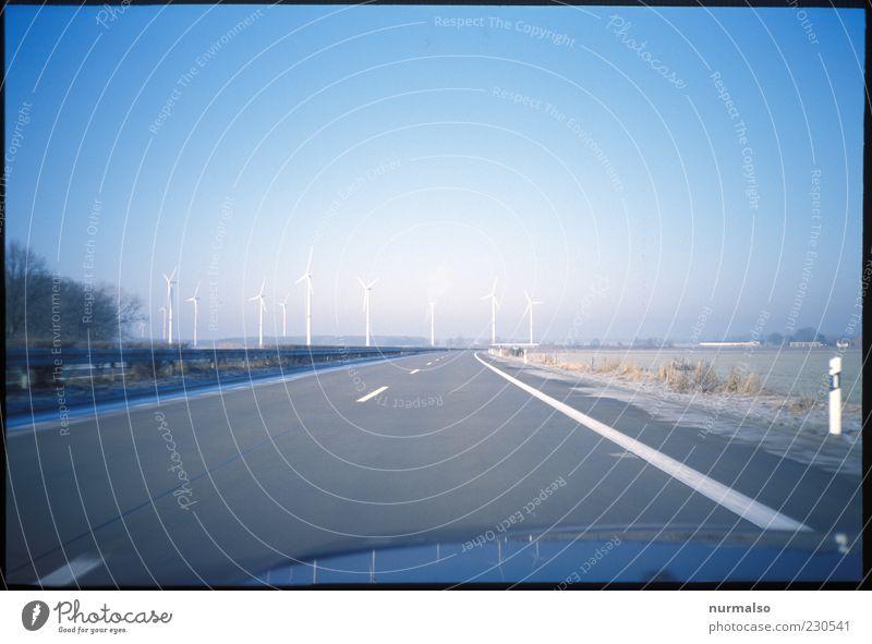 never Ending vs Ökostrom Natur Ferne Straße Umwelt Freiheit Ausflug Verkehr Energiewirtschaft Tourismus Elektrizität fahren Unendlichkeit Autobahn Windkraftanlage entdecken drehen