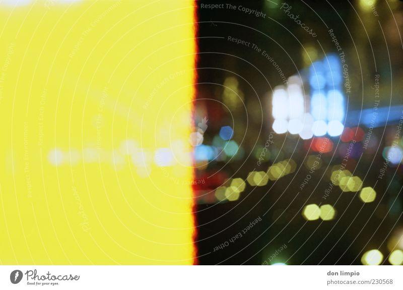 das bild ist noch nicht fertig! gelb Straße glänzend Verkehr leuchten analog Surrealismus mehrfarbig Hamburg Licht Reflexion & Spiegelung Nachtleben Lichtpunkt
