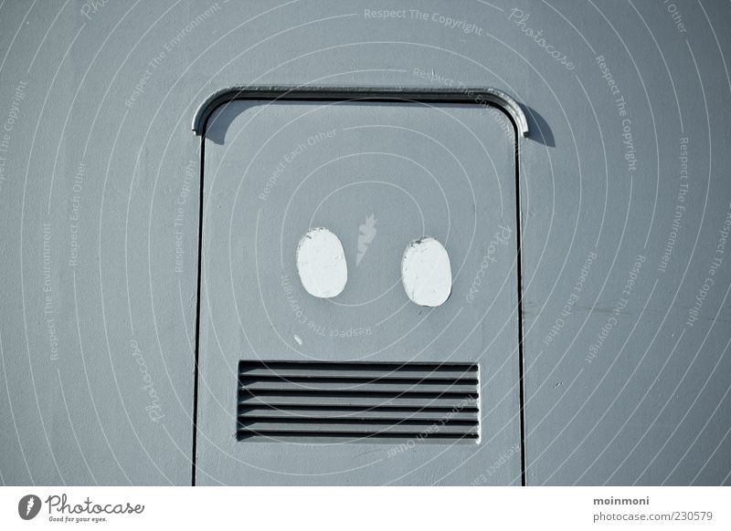 Robo Freude grau Metall Kunst Design Lifestyle Dekoration & Verzierung Zeichen Stahl eckig Kunstwerk Roboter Klappe Schlitz Jugendkultur verziert
