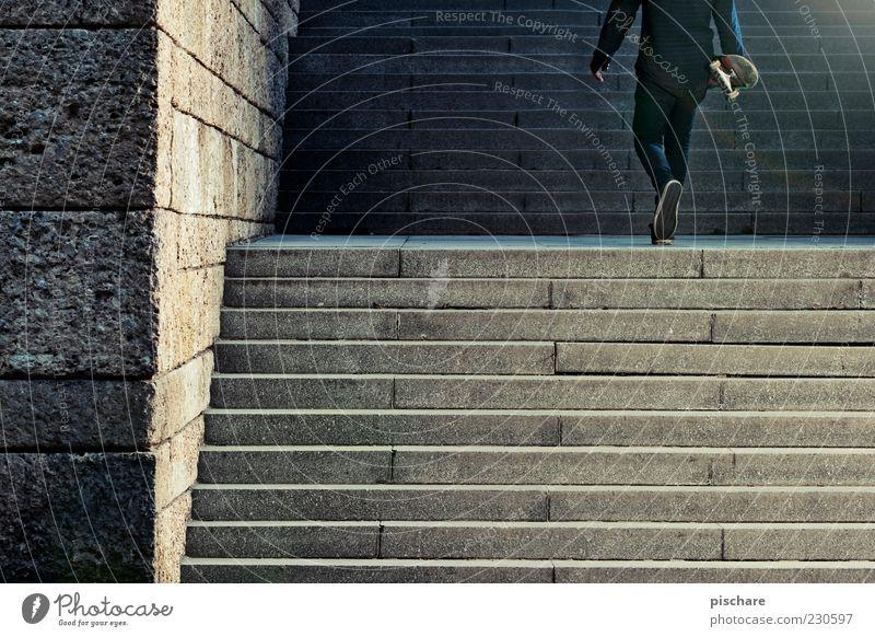 Wand/Treppe/Skater Lifestyle Freizeit & Hobby maskulin Mauer gehen rebellisch sportlich Freude rebellieren Skateboarding Farbfoto Blitzlichtaufnahme