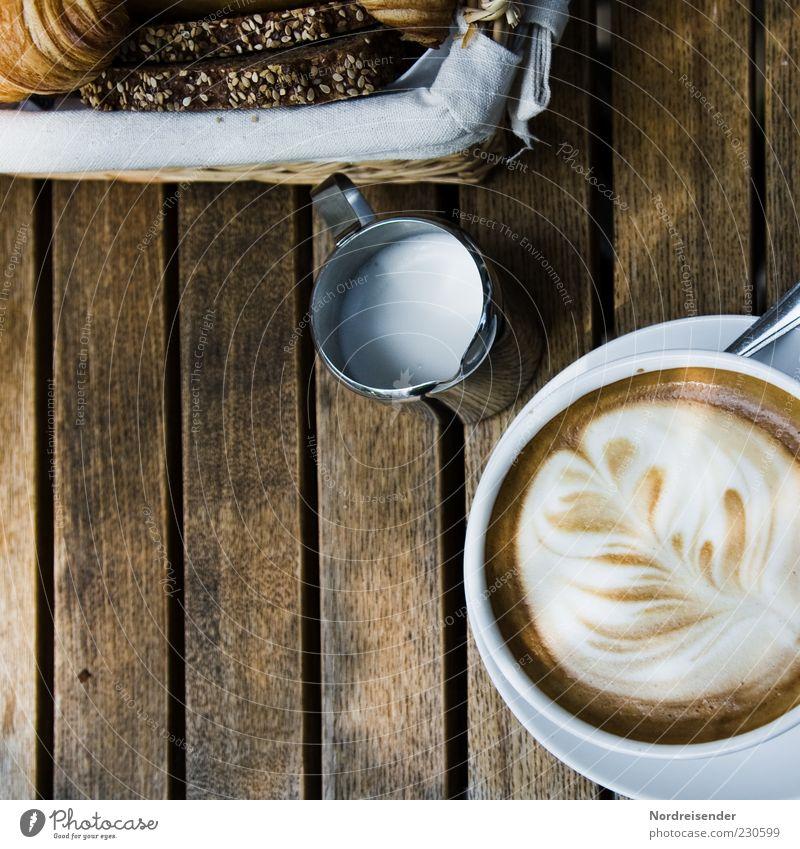 Guten Morgen Montag Lebensmittel Brot Ernährung Frühstück Getränk Heißgetränk Kaffee Geschirr Teller Tasse Löffel Lifestyle Wohlgefühl Sinnesorgane Gastronomie