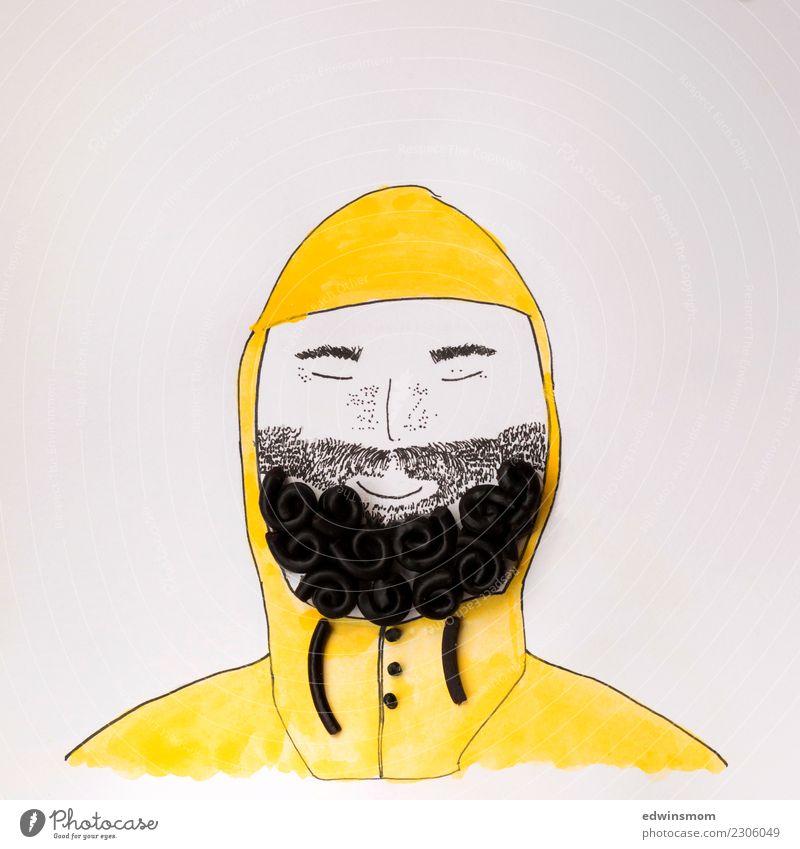 Yellow raincoat Mensch Mann weiß Meer schwarz Erwachsene gelb Glück Freizeit & Hobby maskulin frei Dekoration & Verzierung stehen Kreativität Lächeln genießen