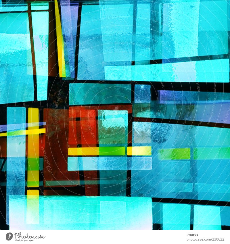 Mondrianesque Lifestyle Stil Design Kunst Glas Linie außergewöhnlich einzigartig verrückt mehrfarbig chaotisch Farbe Perspektive skurril Mosaik leuchten